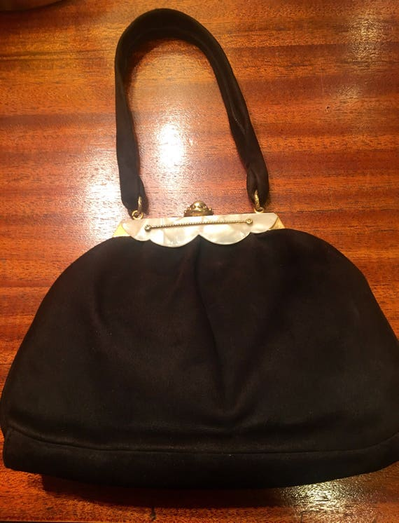 """1940s Black Suede Cocktail Purse by """"Florence."""""""