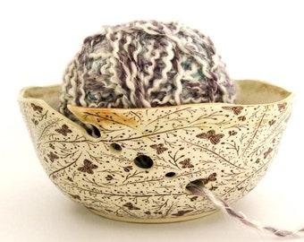 Ceramic Yarn Bowl - Yarn Holder - Butterflies - Mothers Day Gift - Hand Thrown Ceramic Stoneware Pottery