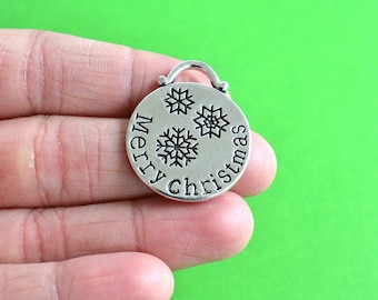3 Merry Christmas Silver Ornament Holiday Pendants / Charms