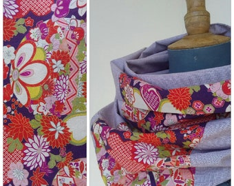Large extra wide collar made of cotton fabric and Japanese