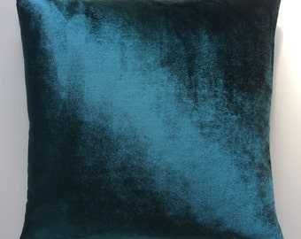 Handmade cushion in teal velvet. .16 inches by 16 inches