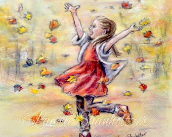 Little girl celebrating Autumn PERSONALIZED, custom print with Names, Hair-color, sayings added, Fall leaves Laurie Shanholtzer