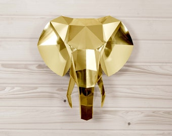 Elephant decor DIY KIT, Bohemian decor, Wall sculpture, Boho chic, Papercraft 3d, Golden decor, paper sculpture, Gold Elephant, 3d wall art