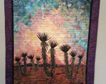 """Landscape quilt- """"Yuccas at Sunset""""- Pieced and Appliqued wall quilt"""