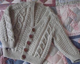 Hand Knit Boys Aran Cardigan