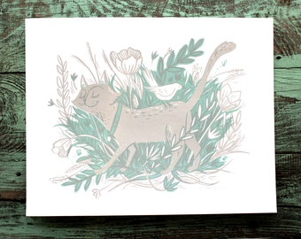 SALE! Cat with bird and flowers in field Screen Print