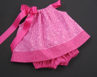 Baby Girls Pink Sun Dress - Pink Floral Dress and Bloomers Outfit - Baby Girls Pink Pillowcase Dress - Size  Nb, 3m, 6m, 9m, 12m or 18m