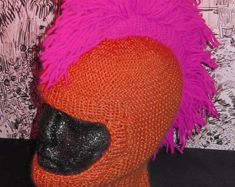 HALF PRICE SALE Instant Digital File pdf download madmonkeyknits knitting pattern-Punk Mohican Balaclava & Beanie Hat pdf knitting pattern