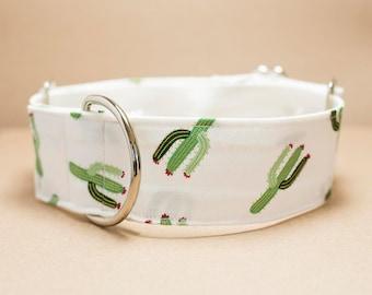 "Greyhound - White Cactus 1.5"" Martingale Collar"