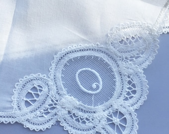 "Hand Made Vintage Monogrammed ""O"" Belgium Lace Handkerchief"