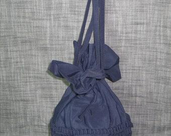 ANTIQUE Victorian Edwardian Drawstring Purse or Lingerie Bag- Dark Navy Blue -Satin Lining