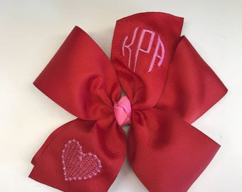 Valentines Day, Monogram Hair Bow, Any Initials, Heart Red Girls, Monogrammed Hair Bows, Gift Idea, V-day, Kids Large, Embroidered Large,