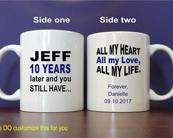 10 Years Anniversary Gift - Gifts for Husband - 10th Anniversary Gift - Personalized Mugs for Him - Tenth Anniversary Gift, MAC013
