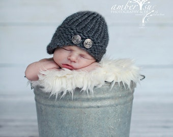 Knitted baby newsboy hat grey  baby photo prop