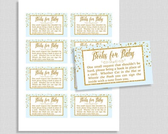 Blue Baby Shower Book Request, Blue & Gold Glitter Confetti Invite Insert, Baby Boy, Books for Baby, DIY Printable, INSTANT DOWNLOAD