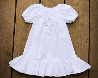 Baptismal Gown, Christening outfit, Cross Dress, Baptism gown, girls christening dress, cotton gown, baby girls, dedication dress