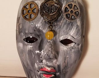 Steampunk Mask Wall Hanging / Macabre Doll / Zombie / Haunted House / Halloween / Graveyard/  Alchemy / Cult / Creepy Craft