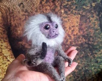 Ooak collectable needle felted finger monkey/ marmoset monkey baby
