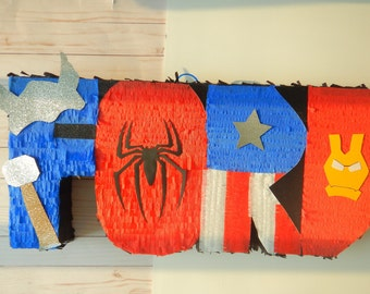 Superhero Pinata, Name Pinata, Hero Letters, Superhero Party, Marvel Birthday, Hero Party, Letters Pinata, Avenger Party, Spiderman Letter
