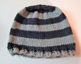 Hand Knit Blue & Gray Striped Hat