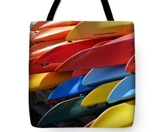 Colorful Kayaks Tote Bag, Charles River, Grocery Tote Bag, Summer Tote Bag,  Kayak Tote Bag, Colorful Tote Bag