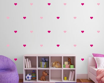 Pink Heart Wall Stickers - Multi Pack of 100 Decals - light & dark pink