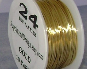24 Gauge Gold Non Tarnish Permanently Colored Enameled Wire, 30 feet