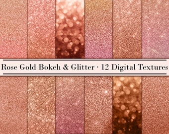Buy 3 pay for 2, Rose gold glitter digital paper, Bokeh paper pack, Rose gold paper, Rose gold texture, Rose gold background, paper clipart