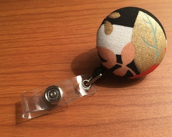Gold Leaf Black & White with Coral Leaves Badge Reel Nurse Pa Np Ma Clinics Teacher Retractable Name ID Pull Holder