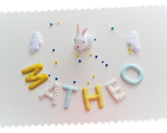 Garland name in fabric and felt, wall decor for kids room, fabric letters, custom Garland, baby name