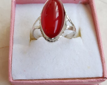 Vintage Red Carnelian stone ring