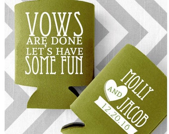 Vows Are Done Let's Have Some Fun Custom Wedding Can Coolers - Custom Printed Vintage style can huggies - Free Shipping (41)