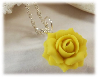 Dainty Yellow Rose Necklace - Silver Gold or Antique Brass, Yellow Rose Jewelry, Small Yellow Flower Necklace