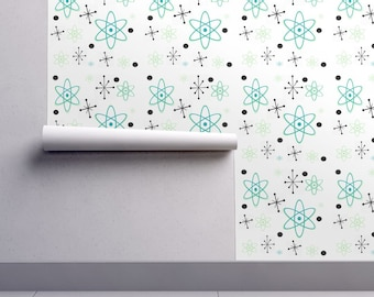Atomic Wallpaper - Atomic Stars Black Turquoise By Flowerchildtrends - Custom Printed Removable Self Adhesive Wallpaper Roll by Spoonflower