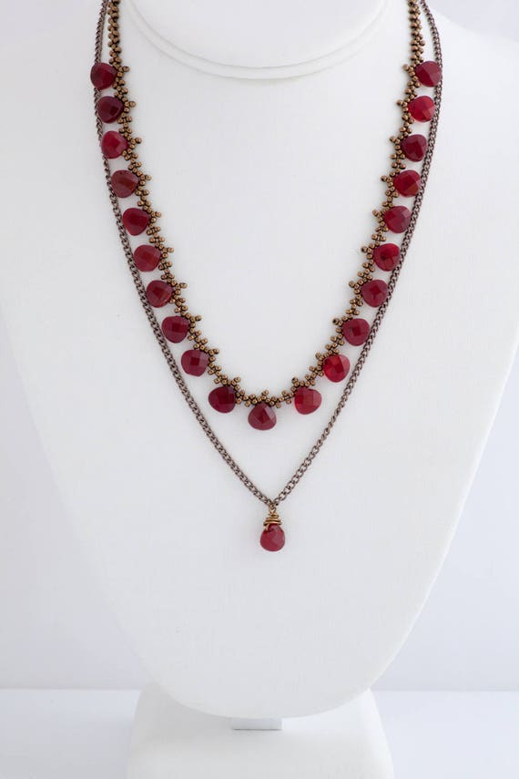 Tiered Ruby Teardrop Necklace with Earrings