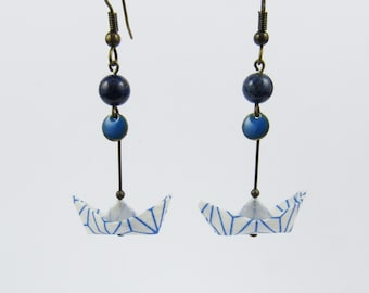Origami boats earrings *WAVE* Paperboat with washi paper