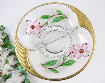 Vintage en verre divisé plat, fleurs de cornouiller rose, or jante et poignées, décor de vanité, écrou Candy vide-poches, Cottage Chic Home Decor