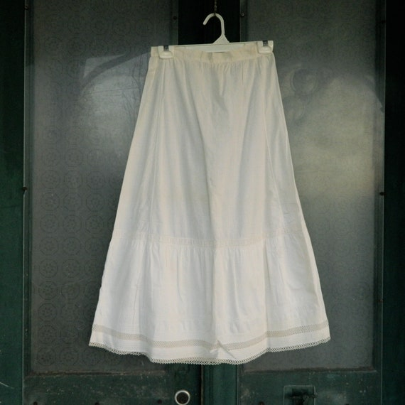 Vintage White Cotton Petticoat Slip with Crochet Hem and Monogram