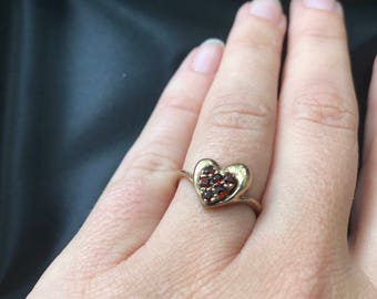 Antique Victorian 9k Solid Gold & Garnet or Ruby Heart Ladies Ring - Oh so cute!