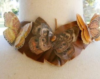Leather and Silk Butterfly Necklace