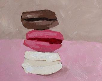 macaron oil painting - original still life painting - macaroon painting - kitchen wall art - easter art
