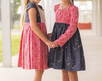 Ava's Pleated Top & Dress. PDF Sewing Patterns for girls sizes 2T-12.