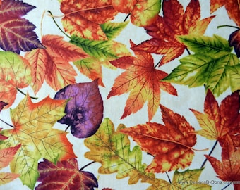 "One Yard Cut Cotton Quilt Fabric, ""Autumn Album"" Large Leaves on Light Cream by Color Principle for Henry Glass, Sewing-Quilting Supplies"