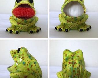 Ceramic frog scrubby holder, frog sponge holder,kitchen decor,frog decor,ceramic scrubby holder,spongeholder,housewarming gift,