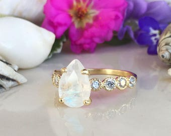 20% off-SALE!! Rainbow Moonstone Ring - June Birthstone - Statement Ring - Gold Ring - Engagement Ring - Teardrop Ring - Cocktail Ring