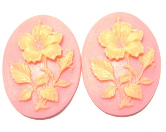 Cab Cabochon Cameo Acrylic Resin Flower Ivory on Pink, 40x30mm, 5 Qty