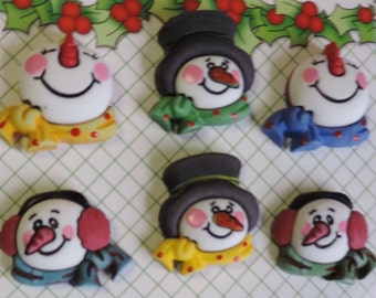 """Snowman Buttons, """"Snowman Medley"""" Novelty Buttons Carded Set of 6 . Buttons by Buttons Galore, Seasonal Buttons, Winter, Snow"""