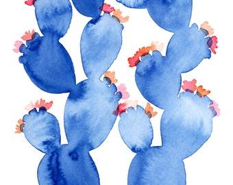 Blue Floral Abstract Prickly Pear Archival Print  // Cactus Art // Cactus Watercolor // Nursery Art // Blue Art // Interior Decor