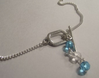 Silver Turquoise and Clear Crystal Toggle Clasp Drop Necklace
