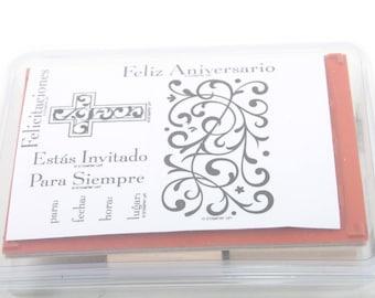 Stampin Up, Invitacion Formal, Spanish, Invitation Celebration Vintage Stamp Set Scrapbooking Card Making In a box ~ Sir Stampinton ~ 170515